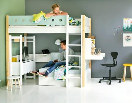 Ko mdf wysokie pe nowymiarowe z i biurkiem click on bia e ka dla dzieci - Bed kind met mezzanine kantoor ...