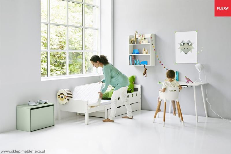 Białe łóżko Rosnące Dla Dzieci Junior 140 190 Cm