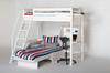 Łóżko wysokie Classic krótsze z pochyłą drabinką z białą poręczą, z sofą bielone