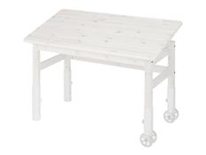 Biurko na kółkach z uchylnym blatem i regulacją wysokości - Colli, sosna białe (