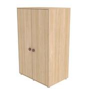 Szafa 2D, niska, 4 półki, 1 wieszak, nogi poziomujące, WIŚNIA