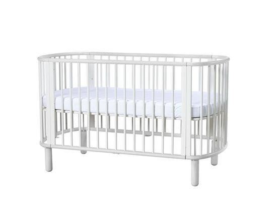 Łóżeczko FLEXA Baby, 5 w 1, owalny, organiczny kształt, lity buk, biało/białe