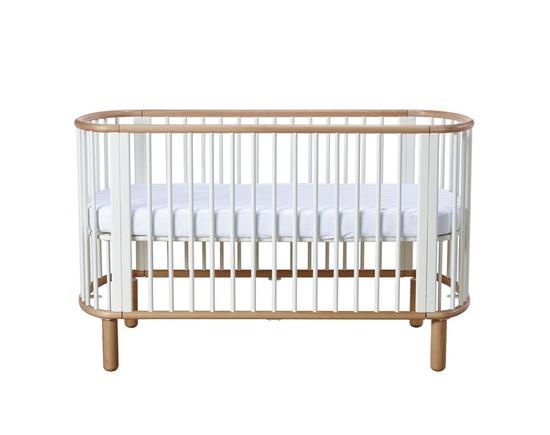 Łóżeczko FLEXA Baby, 5 w 1, owalny, organiczny kształt, lity buk, biało/bukowe,