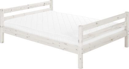 Łóżko szerokie Classic, dwuosobowe, ze stelażem, bielony