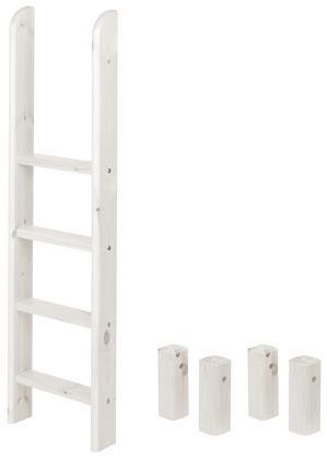 Drabinka prosta i nogi do łóżka piętrowego, kolor bielony.