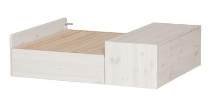Sofa stelaż ze schowkiem na pościel pod łóżko wysokie, bielony