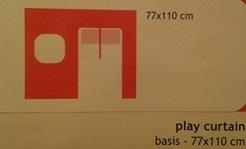Zasłona do zabaw - 110 x 77 cm. Wejście, czerwony, sklad: 100% Bawelna