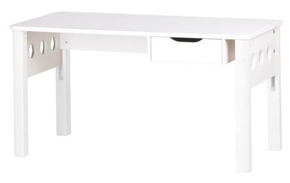 Biurko z szufladką, regulowana dwustopniowo wysokość blatu, białe/białe, MDF