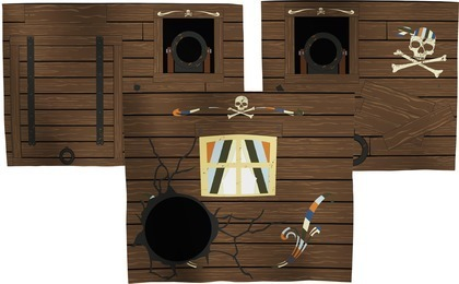 Zasłonki PIRAT,  do zawieszenia na łóżko, 3 elementy