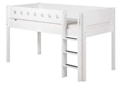 Łóżko MDF średniowysokie krótsze, z prostą drabinką, biały/białe/biała