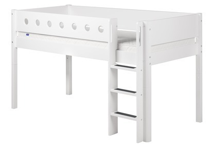 Łóżko MDF średniowysokie z prostą drabinką, biały/białe/biała