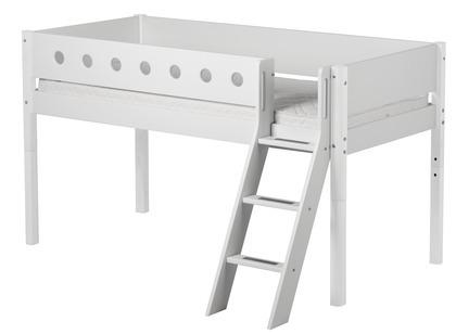 Łóżko MDF średniowysokie krótsze z pochyłą drabinką,  biały/białe/biała,