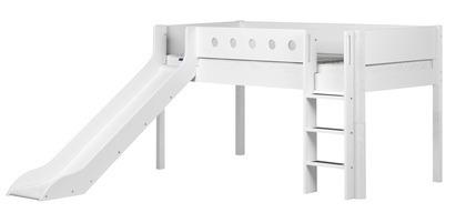 Łóżko ze zjeżdżalnią MDF średniowysokie krótsze z prostą drabinką, biały/białe