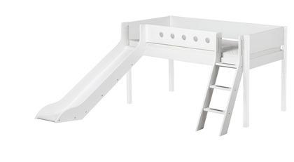 Łóżko ze zjeżdżalnią, MDF, krótsze z pochyłą drabinką, biały/białe/biała