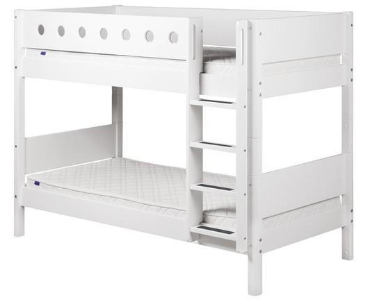 Łóżko piętrowe podwójne MDF krótsze z prostą drabinką, biały/białe/biała