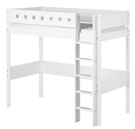 Łóżko MDF wysokie pojedyncze krótsze z prostą drabinką, biały/białe/biały