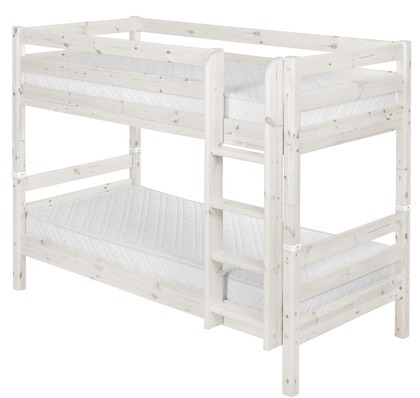 Łóżko piętrowe podwójne Classic krótsze, drabinka prosta, sosna bielona