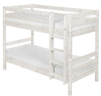 Łóżko piętrowe podwójne Classic, drabinka prosta, sosna bielona