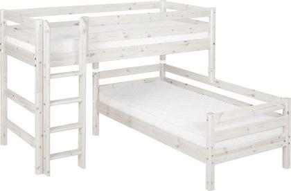 Łóżko krótsze półwysokie Classic typu Corner, drabinka prosta, sosna bielona