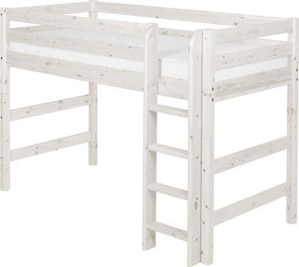 Łóżko półwysokie Classic krótsze, prosta drabinka, sosna bielona