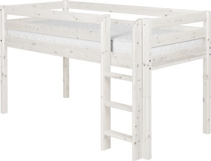 Łóżko średniowysokie Classic,drabinka prosta, bielony