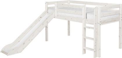 Łóżko ze zjeżdżalnią, Classic krótsze, prosta drabinka, sosna bielona