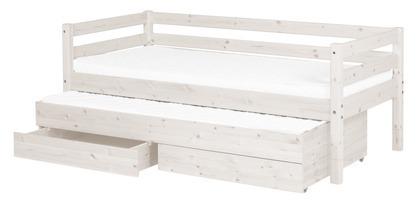 Łóżko Classic krótsze z łóżkiem wysuwanym z 2 szufladami, sosna bielona