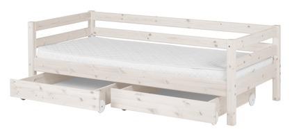Łóżko Classic krótsze z  2 szufladami, sosna bielona