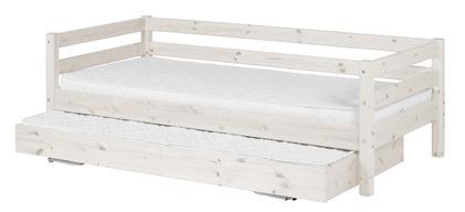 Łóżko Classic krótsze z łóżkiem wysuwanym krótszym, sosna bielona.