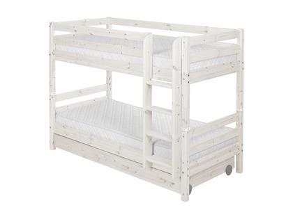 Łóżko Classic piętrowe krótsze, z 2 szufladami i prostą drabinką, bielone