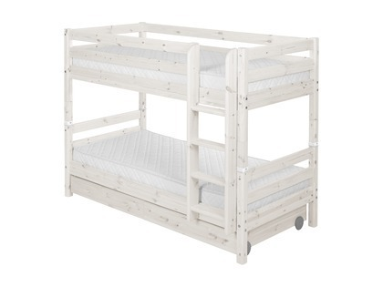 Łóżko Classic piętrowe podwójne z 2 szufladami i prostą drabinką, bielone.