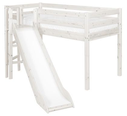 Łóżko ze zjeżdżalnią, Classic krótsze z platformą, sosna bielona