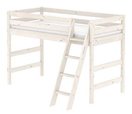 Łóżko półwysokie Classic, drabinka pochyła z zintegrowanym uchwytem, bielone