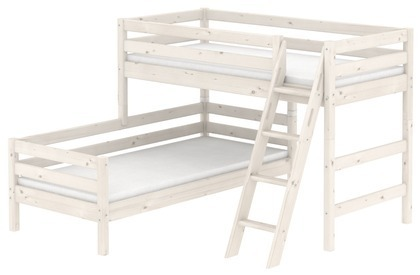 Łóżko półwysokie Classic krótsze typu Corner z łóżkiem niskim krótszym, bielone
