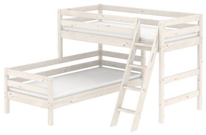 Łóżko półwysokie Classic typu Corner z łóżkiem niskim, sosna bielona,drab.z int.