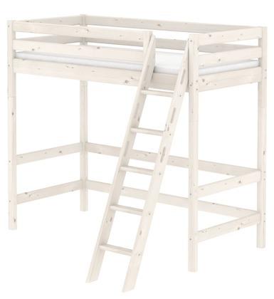 Łóżko wysokie Classic z pochyłą drabinką z zintegrowanym uchwytem, bielone.