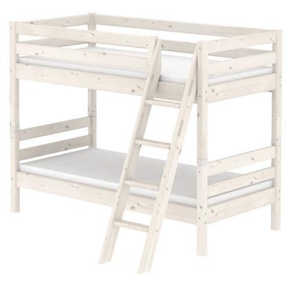 Łóżko Classic piętrowe podwójne z drabinką pochyłą, zintegrowane uchwyty bielone