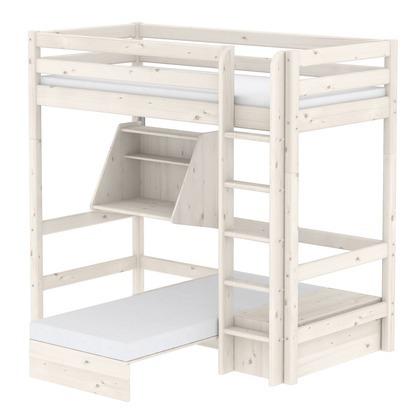 Łóżko wysokie Classic krótsze z prostą drabinką, sofą, sekretarzykiem, bielone