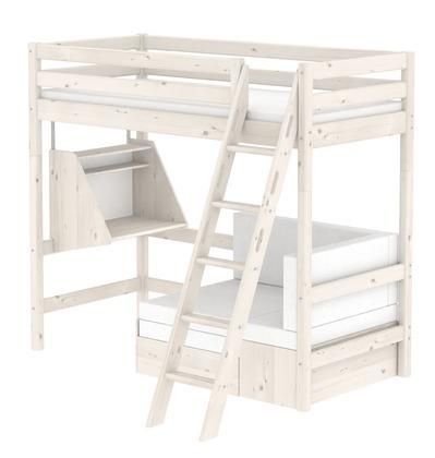 Łóżko wysokie Classic krótsze z pochyłą drabinką,sofą i biurkiem bielone