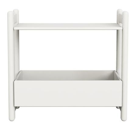 Mini D regał z 1 półką i organizerem, półki MDF, nogi lakier biały kryjący