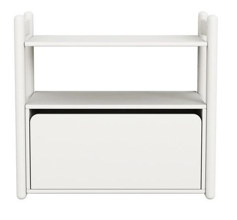 Mini B regał z 1 półką i komodą z szufladą,biały MDF,nogi lakier biały kryjący