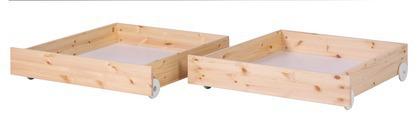 2 szuflady krótsze do łóżka Classic, sosna, lakier bezbarwny
