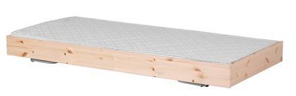 Łóżko wysuwane, krótsze, 190cm, sosna, lakier bezbarwny, potrzebny materac 180x9