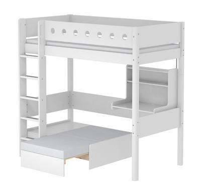 Łóżko MDF wysokie pełnowymiarowe z prost.drab.sofą i biurkiem click-on,białe