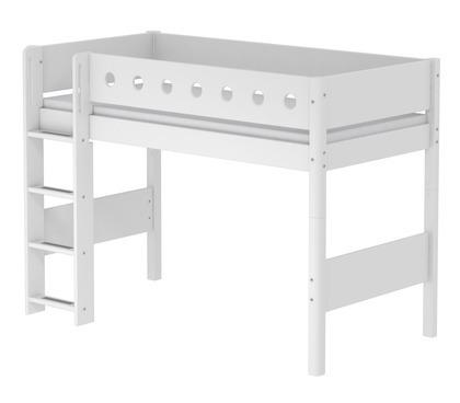 Łóżko półwysokie 143cm MDF krótsze,drabinka proszta,całe białe