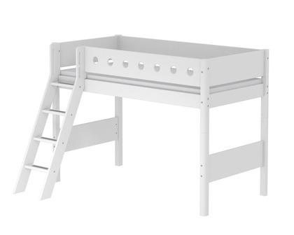 Łóżko półwysokie 143cm, MDF, krótsze, pochyła drabinka,  biały/biały