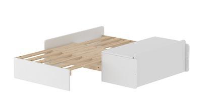 Sofa rozkładana MDF do łóżka FLEXA White, biała, bez materaca