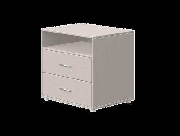 Komoda z 2 szufl i półką. Korpus szara, fronty terra, paski białe,wym 72x56,5x67