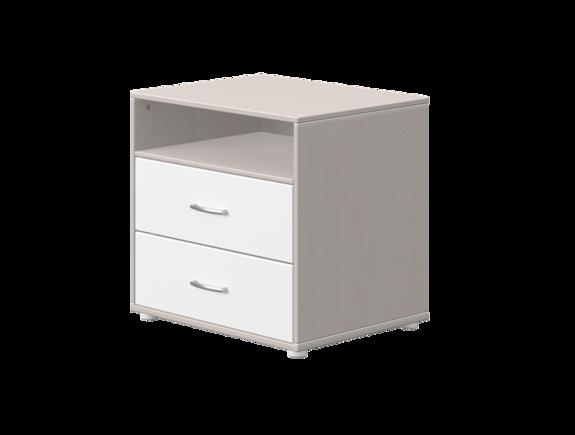 Komoda z 2 szufl i półką. Korpus szary, fronty białe, paski białe,wym 72x56,5x67
