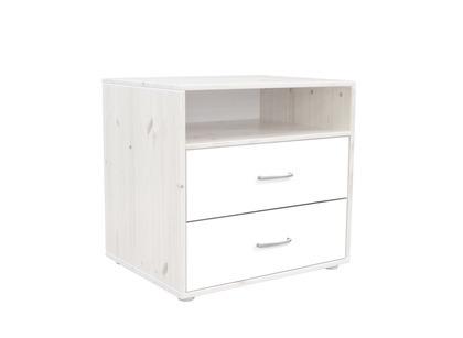 Komoda z 2 szufladami i półką. Korpus bielony, fronty białe,wym 72x56,5x67